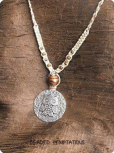 AutumnInspired Owl Hemp Necklace by BeadedHemptations on Etsy, $14.99