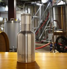 Stainless steel growler with add-on attachments to make bringing home your favorite beer even better.  Pretty sweet to have modular attachments to enhance the growler like a serving top or swing-top add-on. http://www.craftbeertime.com/beer-gadgets/the-brauler-growler