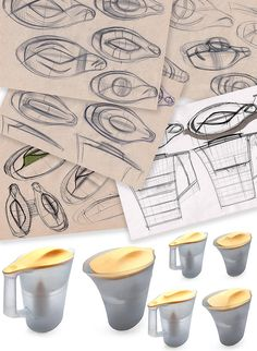 The making of the Twist pitcher for Barrier water filters Design Thinking Process, Design Process, 3d Sketch, Sketches, Filter Bottle, Plastic Moulding, Industrial Design Sketch, Water Filters, Key Design