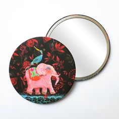Round Pocket Makeup Mirror - The Blue Bird and Pink Elephant Elephant Illustration, Pink Elephant, Free Black, Black Mirror, French Artists, Small Gifts, Blue Bird, Pouch, Velvet