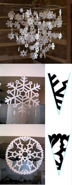 50 DIY Indoor Christmas Decorating Ideas I love Pink Snowflake Craft, Paper Snowflakes, Christmas Snowflakes, Simple Christmas, Christmas Ornaments, Cool Christmas Decorations, Snowflake Pattern, Winter Christmas, Holiday Crafts