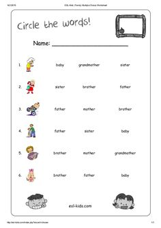 Esl Worksheets For Kids Family: Esl kids family multiple choice worksheet,Worksheet