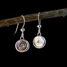 Fine Silver Halo Earrings by Carey Ann Jewels