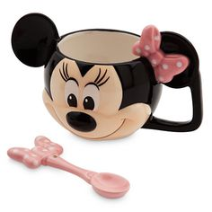 Two-piece set includes mug and spoon. Spoon features Mickey image on handle. Spoon: L. Black on black design featuring Mickey. Cute Mugs, Funny Mugs, Disney Classics Collection, Unicorn Coffee Mug, Minnie Mouse Mug, Disney Mugs, Walt Disney, Disney Traditions, Glass Water Bottle