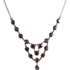 Art Deco Festoon Necklace Amethyst Glass