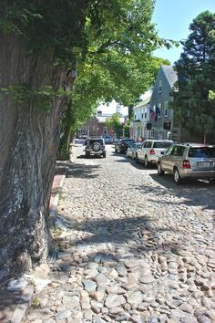 Nantucket cobblestone streets.