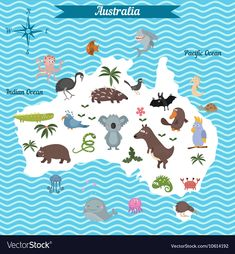 Map of australia continent with animals Royalty Free Vector , Australia Continent, Australia Map, Geography For Kids, Maps For Kids, Social Studies Worksheets, Social Studies Activities, Classroom Crafts, Preschool Crafts, Learning The Alphabet