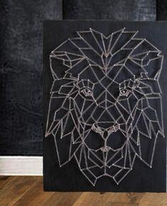 "Картина ""ЛЕВ"" в стиле стринг-арт / Painting in the technique of string art ""Leo"""
