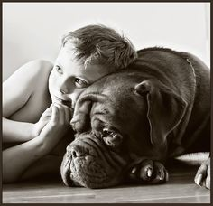 My son and our French Mastiff.. Boris