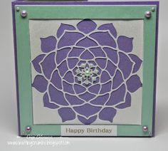 Birthday Card from Crafting Crumbs.  Beautifully detailed cut.  The Silver Bullet Professional cutter is so amazing!  This card is gorgeous!!!