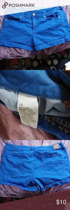 Blue American eagle shorts Royal blue denim style rolled hem shorts size 16 Pet friendly home. Never worn. American Eagle Outfitters Shorts Jean Shorts