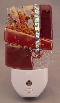 Handmade contemporary fused glass night light - prototype for sculpture.