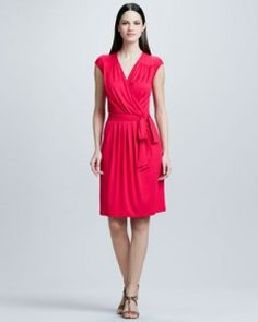 Three Dots Dress in Vibrant Pink - Made in the USA