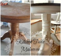 Over The Apple Tree: Kitchen Table Makeover. I have this exact table in my kitchen & have been looking forever for a DIY to redo it! Yaay!