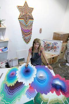 Jen Stark in her studio.