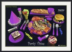 """""""Party Time  Lavender  Appetizer Designs"""" by Andre Price,  // Deliciously looking appetizer designs, food art created by 3D-Cuisines, creator of realistic looking 3D food models that make you feel hungry. // Imagekind.com -- Buy stunning fine art prints, framed prints and canvas prints directly from independent working artists and photographers."""