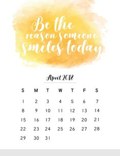 April 2018 Calendar With Inspirational Quotes