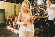 Art Deco inspired wedding | Flower girl throwing alternative to rose petals, glitter confetti!