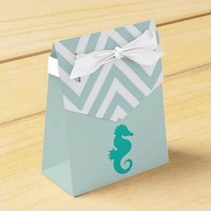 Check out Teal Seahorse Seashore Theme Child Bathe Favor Field