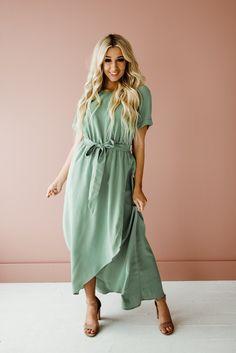 Modest Bridesmaid Dresses, Modest Dresses, Trendy Dresses, Modest Outfits, Summer Dresses, Dresses Dresses, Wedding Dresses, Sage Green Dress, Illusion Dress