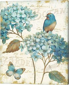 Express garden-inspired peace and beauty with the sweet floral design of the Global Gallery Blue Garden III Crop Wall Art . Hang this sophisticated canvas. Art Prints, Vintage Paper, Canvas Prints, Painting, Decoupage, Art, Decoupage Vintage, Canvas Art, Bird Art