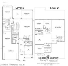 Floor plan 2 at Vista Pointe in Vista, CA. New homes for sale in Vista. Pulte Homes, Two Story Homes, House Blueprints, New Homes For Sale, House Floor Plans, New Construction, Den, San Diego, Patio