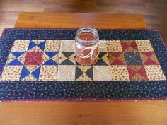 Country Colors Quilted Table Runner/ Scrap Ohio Star Pattern Burgundy, Navy,and Beige by RubysQuiltShop on Etsy