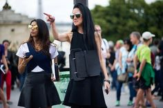 Spotted - Vera Wang doing a whole new take on the oversized belt at Paris Fashion Week.- The Cut