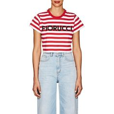 FIORUCCI Women's Striped Jersey Crop T-Shirt (€71) ❤ liked on Polyvore featuring tops, t-shirts, multi, stripe t shirt, blue crop top, crop t shirt, short sleeve t shirt and striped t shirt