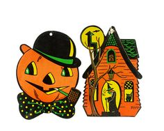 Vintage Halloween Decorations Beistle Die Cut by GizmoandHooHa