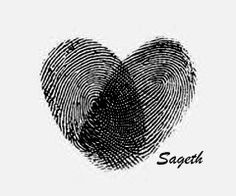 Very cool idea, heart tattoo of you and your loved ones finger prints!