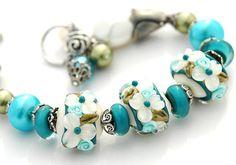 Reserved  Teal White Bracelet Lampwork Beads by shalayneoriginals, $89.00 #etsysns #boebot #shopetsy