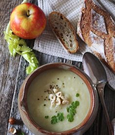 Vegetable celery cream soup by photosimysia Cream Of Vegetable Soup, Soup Recipes, Cooking Recipes, Cream Soup, Food Design, Cheeseburger Chowder, Celery, Camembert Cheese, Food Photography