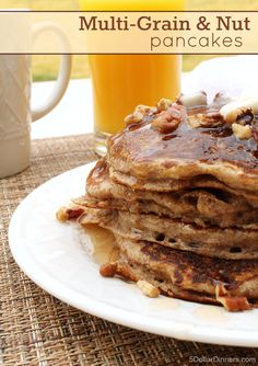 Multi-Grain and Nut Pancakes ~ delicious, freezer friendly, and good for you! | 5DollarDinners.com