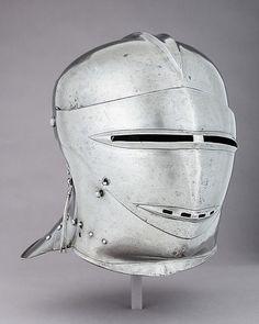 Armet Date: ca. 1500 Culture: German Medium: Steel, leather, textile Dimensions: H. 11 in. (27.9 cm); W. 10 3/8 in. (26.4 cm); D. 11 1/2 in. (29.2 cm); Wt. 5 lb. 1 oz. (2296.3 kg)