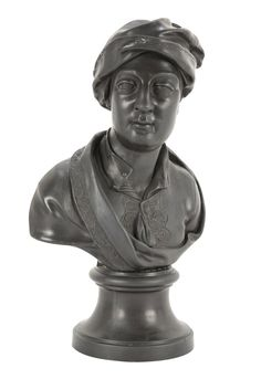"""A black basalt Wedgwood bust of """"Addison"""".  Impressed title and mark. Early 19th Century.  14.5 H x 9.5 W x 6 D"""