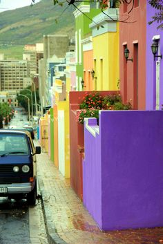 This is Whale street in Bo-Kaap, Cape Town, South Africa -- My Home Town The Places Youll Go, Places To Go, Beautiful World, Beautiful Places, African Holidays, South Afrika, Colourful Buildings, Cape Town South Africa, Gloomy Day