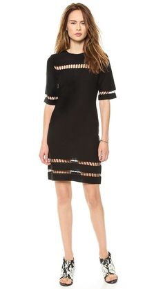 JOA | Short Sleeve Dress with Mesh Inserts in black
