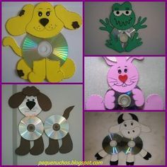 cute idea s for children's room be fun activity Summer Camp Crafts, Camping Crafts, Easy Crafts For Kids, Diy For Kids, Art Cd, Alphabet Letter Crafts, Cd Diy, Animal Crafts, Elementary Art