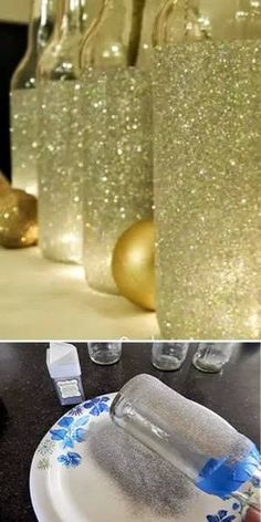 Decorate Glass Bottles Using Glitter