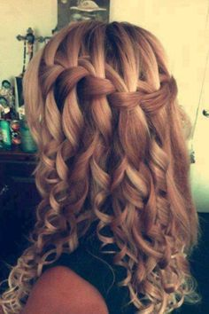 Waterfall braid with curls I wish it was more wavy though <3