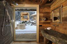 Bathroom alpine rustic .. with views