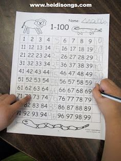 1 to 100 skip counting printable. I actually like the lit activities on this site!!