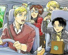 Shingeki No Road Trip! Attack On Titan Hoodie, Attack On Titan Comic, Attack On Titan Fanart, Attack Titan, Fanarts Anime, Anime Manga, Tous Les Anime, 鋼の錬金術師 Fullmetal Alchemist, Hiro Big Hero 6
