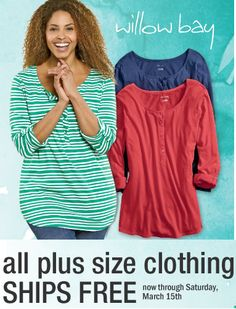 ALL Plus Size Clothing Ships FREE Through 3/15! Prices Starting At $1.99!!!! - http://couponingforfreebies.com/plus-size-clothing-ships-free-315-prices-starting-1-99/