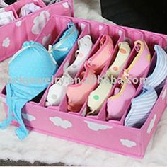 wholesale free shipping bra storage box pink color non woven material-in Storage Boxes & Bins from Home & Garden on Aliexpress.com