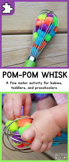 A simple fine motor activity for babies, toddlers, and preschoolers using colored pom-poms