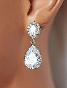 Pear Cut CZ Wedding Earrings. Vintage Cubic by AuroraJewelryBox, $38.00