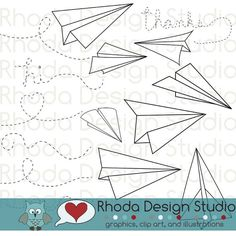 Paper Airplanes Digital Clip Art stamps by RhodaDesignStudio, $6.95