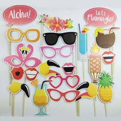 21Pcs Flamingo Photo Booth Props Tropical Hawaiian Summer Hen Party Accessories